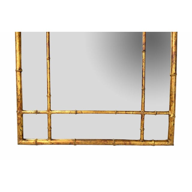 Vintage Labarge Oval Top Spanish Gilt Metal Faux Bamboo Wall Mirror For Sale In Chicago - Image 6 of 7