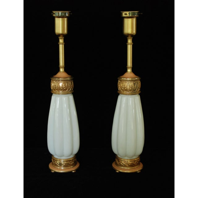 Rembrandt Milk Glass Torchiere Lamps - A Pair For Sale - Image 4 of 8
