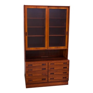 Danish Modern Rosewood Vitrine / Buffet and Hutch by Poul Hundevad For Sale