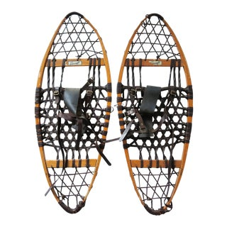 Vintage Snocraft Wood and Rawhide Leather Snow Shoes - a Pair