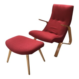 "Vintage Eero Saarinen Model 61 ""Grasshopper"" Chair + Ottoman - 2 Pieces For Sale"