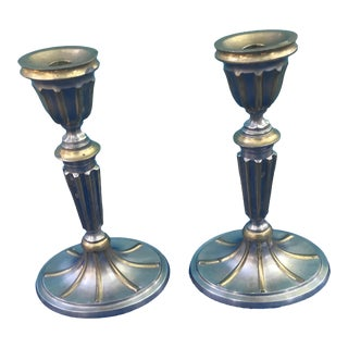 Art Deco Pewter Candle Holders - Set of 3