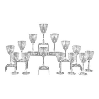Set of 16 Webb Handblown Crystal Goblets with Art Deco Copper Wheel Engraving For Sale