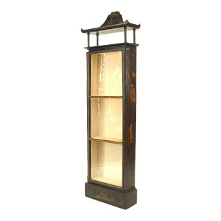 Regency Chinoiserie Black Lacquered Vitrine For Sale
