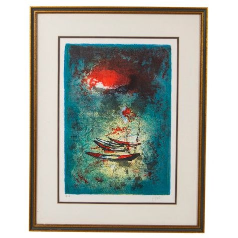 Mid-Century Modern Lithograph of Fishing Boats, Signed Hoi For Sale