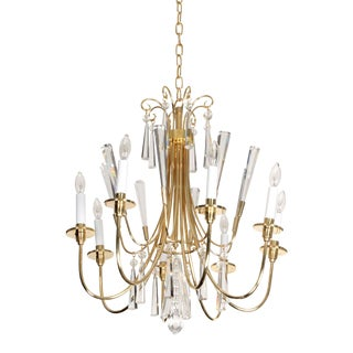 Parzinger Style Brass and Crystal Chandelier For Sale