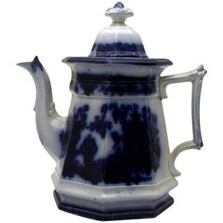 Antique Flow Blue Tea Pot For Sale