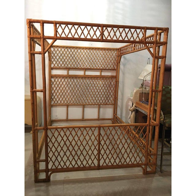 Rattan Bamboo Chinese Chippendale Queen Canopy Bed - Image 5 of 12