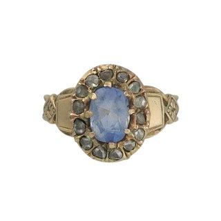 Edwardian 14k Gold Diamond Cornflower Blue Sapphire Ring For Sale