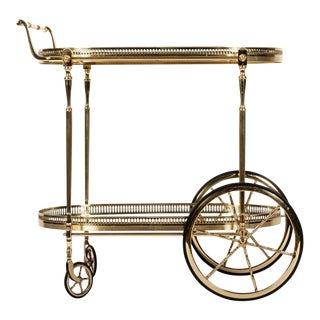 French Vintage Solid Brass Bar Cart With Mirrored Shelves