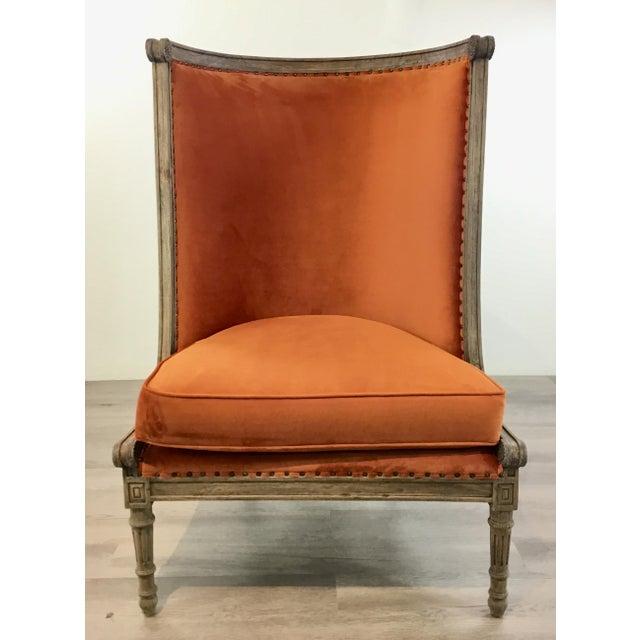 Elegant French Style Modern Orange Velvet High Back Lounge Chair, greige finished carved wood frame, antique nickel...