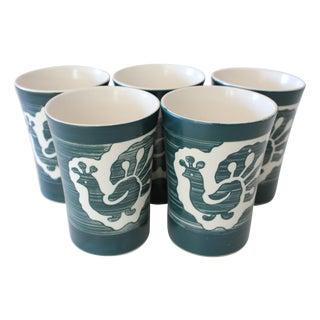 Kinkozan Japan Peacock Pottery Tumblers - Set of 5 For Sale