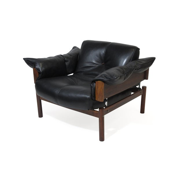 Mid 20th Century Percival Lafer Brazilian Modernist Rosewood Sofa and Chair in Black Leather For Sale - Image 5 of 13