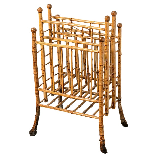 Antique English Root Bamboo Magazine Holder, 1900s For Sale