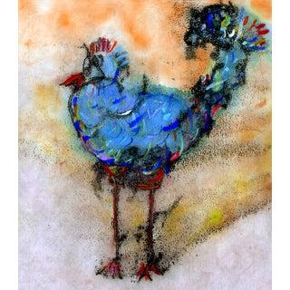 Blue Rooster #2 Fine Art Print Medium For Sale