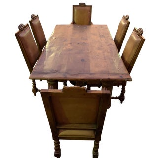 Rustic Ralph Lauren Pine Dining Set - 7 Pieces For Sale