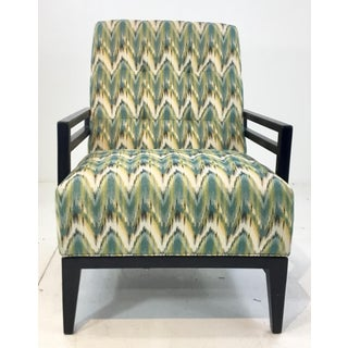 Thomasville Modern Green Herringbone Print Lounge Chair Preview