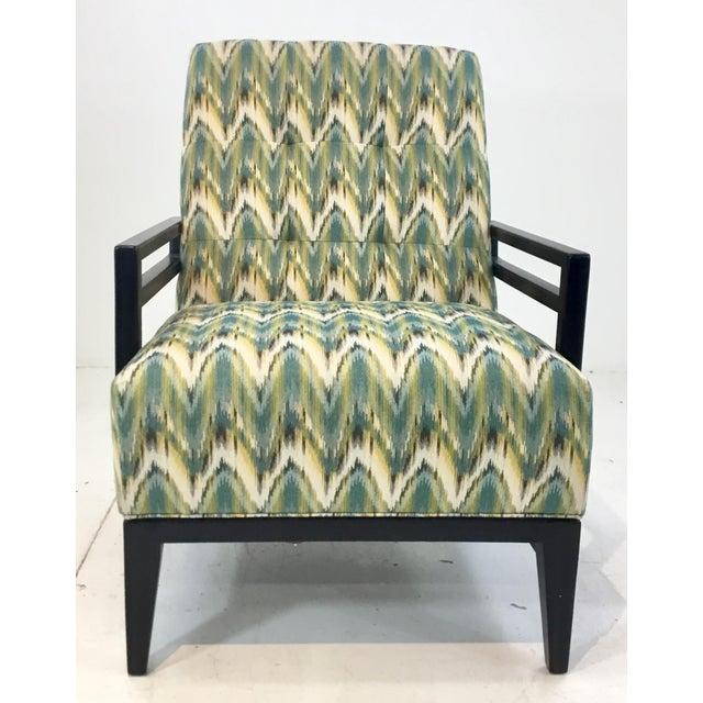Stylish Thomasville Modern Green Herringbone Print Lounge Chair, black wood frame, cream and gold accents in the...