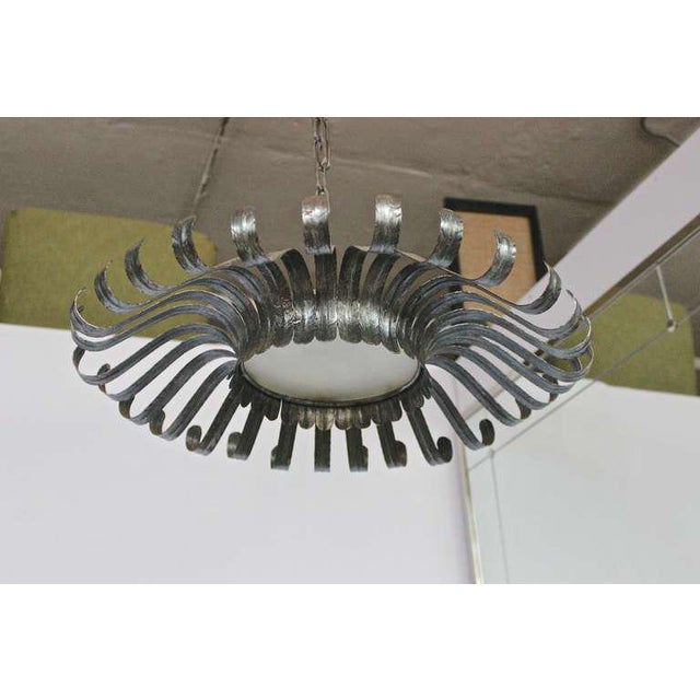Black Very Large Silvered Flush Mounted Sunburst Ceiling Fixture With Frosted Glass For Sale - Image 8 of 11