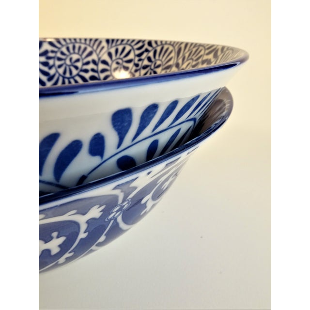 Chinoiserie Blue & White Serving Bowls - A Pair For Sale - Image 10 of 11