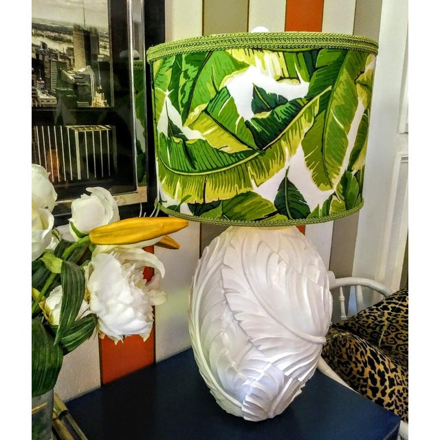 Textile A Pair Palm Beach Regency Serge Roche Style White Gloss Palm Leaf Table Lamps W/Custom Palm Leaf Shades For Sale - Image 7 of 10