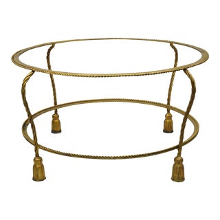 Hollywood Regency Gold Rope Tassel Iron Metal Round Coffee Table Base For Sale