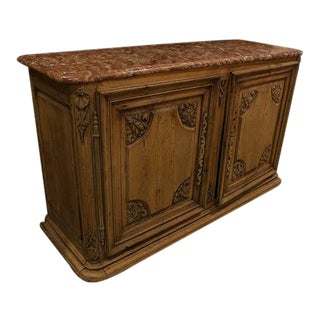 Late 19th Century French Oak Buffet With Marble Top For Sale