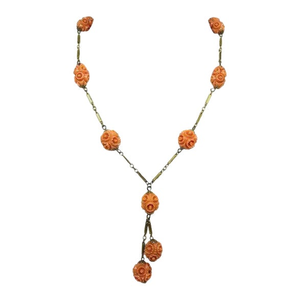 1920s Vintage Coral Celluloid Carved Bead Necklace For Sale