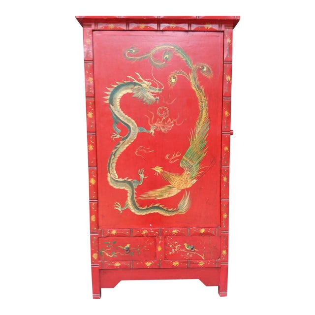 Red Dragon Wine Cabinet For Sale