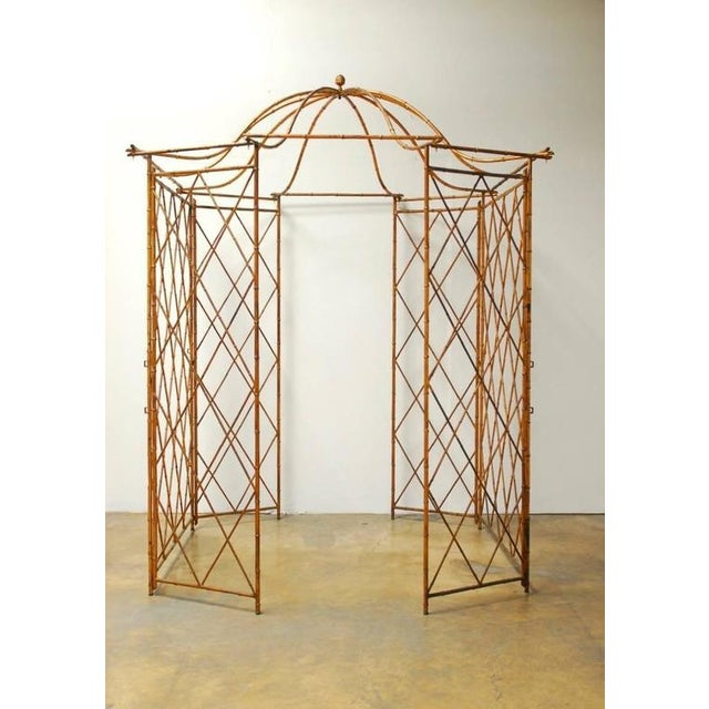 Gold Gilt Metal Faux Bamboo Gazebo For Sale - Image 8 of 10