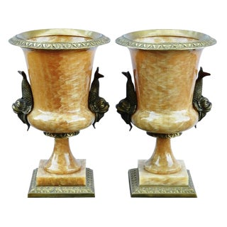 Carved Alabaster Urns With Dolphin Shaped Brass Handles - a Pair For Sale