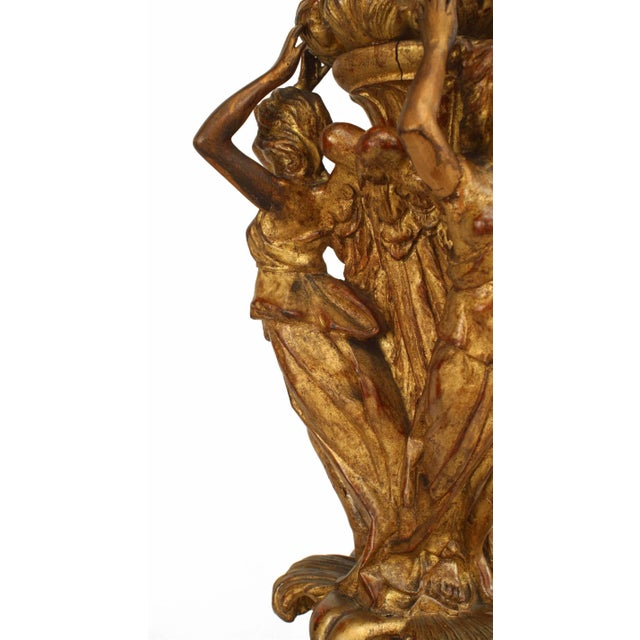 Mid 19th Century 19th Century French Louis XVI Style Gilt Pedestals - a Pair For Sale - Image 5 of 8