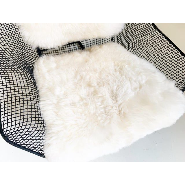 Metal Russell Woodard Sculptura Lounge Chairs and Ottoman With Sheepskin Cushions - 3 Pc. Set For Sale - Image 7 of 10