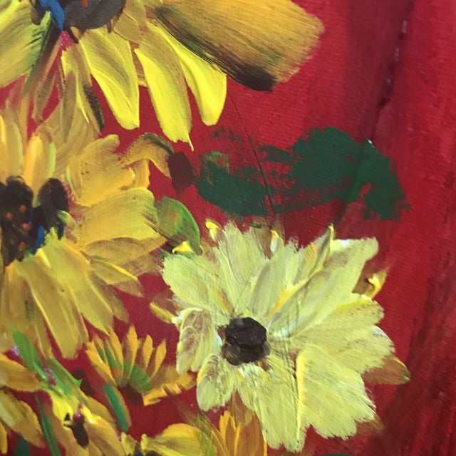 Abstract Sunflowers on Red Contemporary Painting For Sale - Image 3 of 9