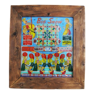 Vintage Mid-Century Pinball Glass Back, Framed For Sale