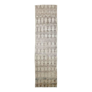 Afghan Moroccan Style Runner with Brown Tribal Details on Ivory Field For Sale