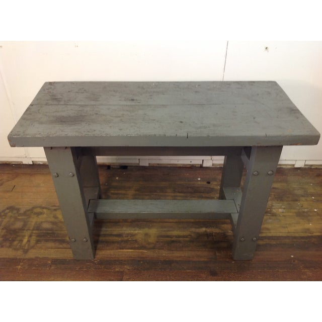 Primitive Industrial Gray Potting Table - Image 4 of 10