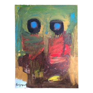 Late 20th Century J. Coignard Abstract Portrait Painting For Sale