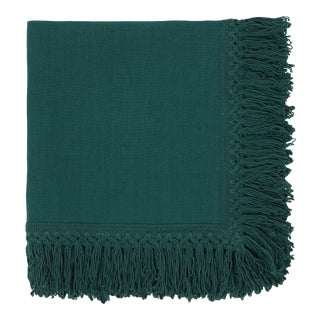 Once Milano Linen Napkin With Long Fringes in Forest For Sale