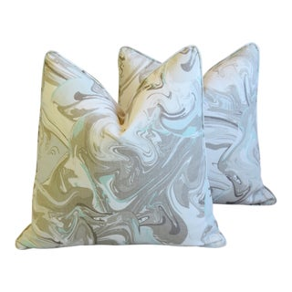 "Kate Spade Marbleized Aqua & Gray Stone Swirl Linen Feather/Down Pillows 22"" Square - Pair For Sale"
