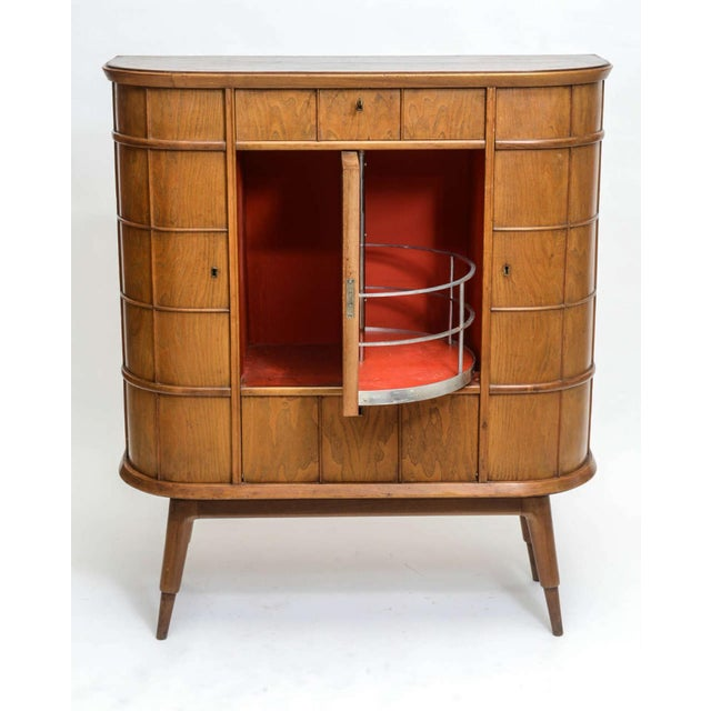 1950s Italian Modern Ash, Walnut, Olivewood, Mahogany Bar Cabinet, Luigi Scremin For Sale - Image 5 of 8