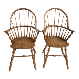 Antique New England Bow Back Hand Crafted Windsor Chairs - a Pair