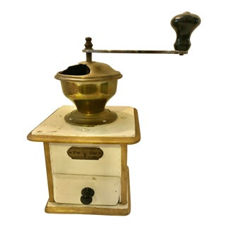 Vintage German Wood and Brass White Coffee Grinder For Sale