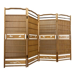 Japanese Vintage Four Panel Wood and Bamboo Screen Room Divider For Sale