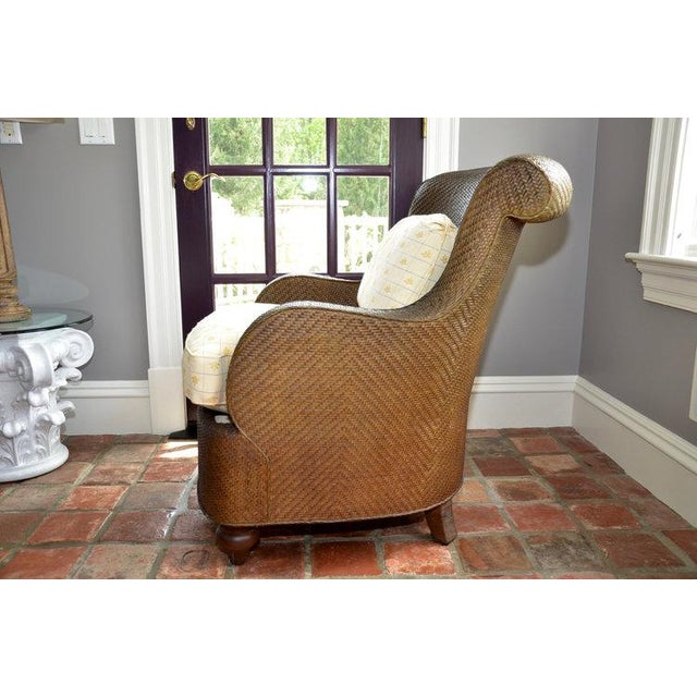 Hickory Chair Company Rattan Club Chair - Image 4 of 8