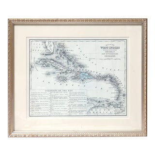 Late 19th Century West Indies Map, Framed For Sale