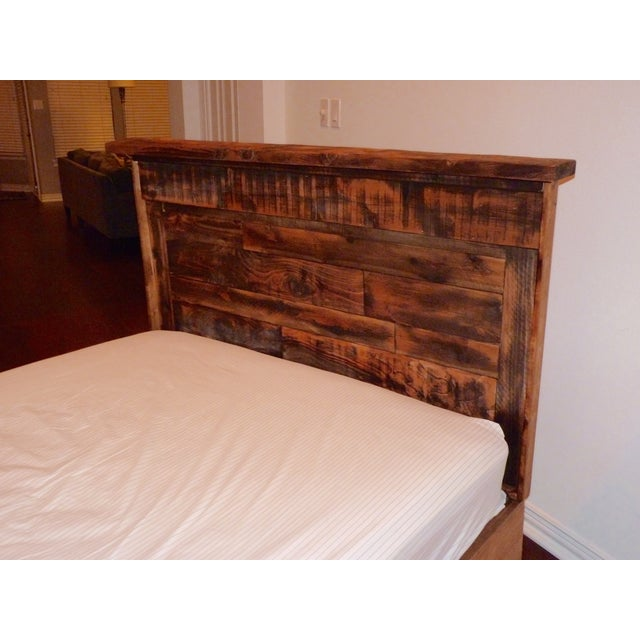 Shabby Chic Reclaimed Wood Queen Bed Frame - Image 5 of 6