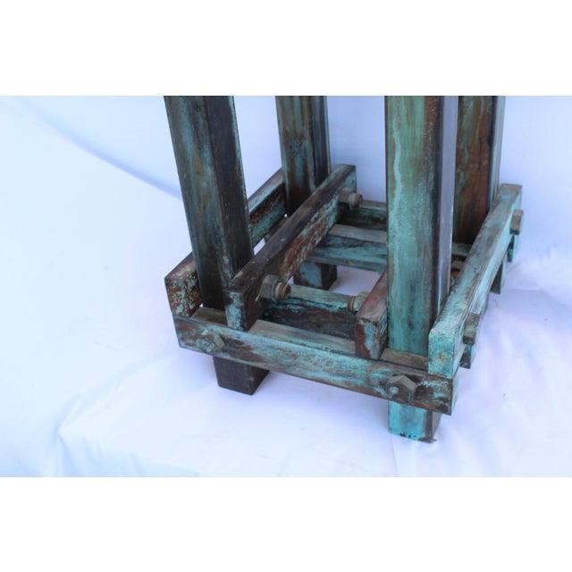 Art Deco Mid-Century Design Antiqued Green Finish Steel Pedestal For Sale - Image 4 of 9