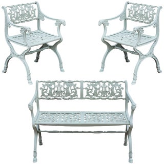 19th Century Neoclassical American Iron Furniture Suite For Sale