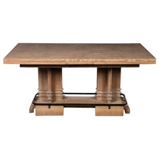 Frank Lloyd Wright Style French Cerused Oak Dining Table For Sale